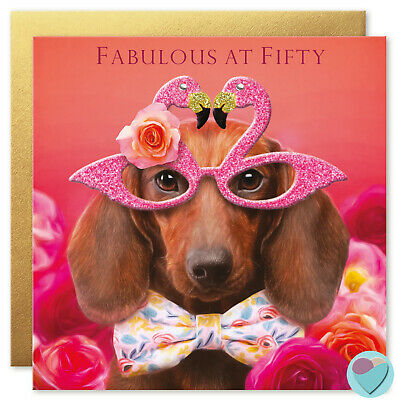 50th Birthday Card for Women or Men Sausage Dog to from the DACHSHUND dog lover