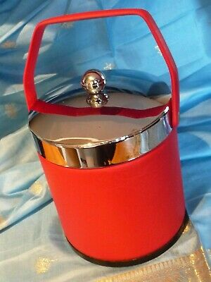Vintage 1960s 1970s Bright Red Plastic Chrome Vinyl Ice Bucket Retro Cool Mint