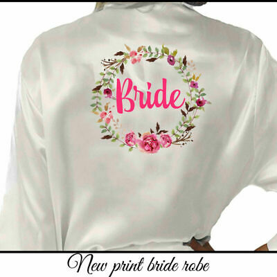 Bride Wedding Robe Gown Bridesmaid Floral of Honor Satin Mother Silk Team UK