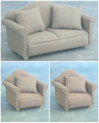 Dolls House Furniture : Grey Sofa & Two Armchairs : 12th scale