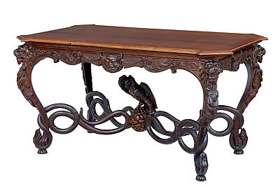 Rare 19Th Century Continental Carved Mahogany Center Table