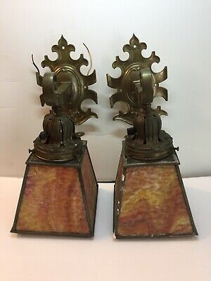 Rare Pair Of Vintage Brass Mission Arts & Crafts Wall Sconces Unrestored Handel?
