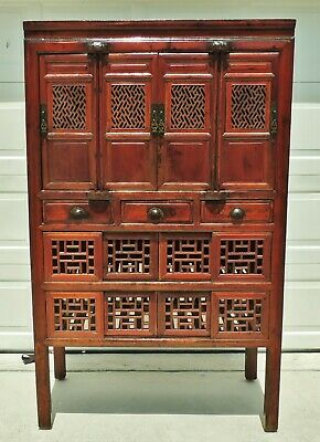 """Large Antique/Vtg 72"""" Asian Chinese Solid Elm Wood Carved China Cabinet Armoire"""