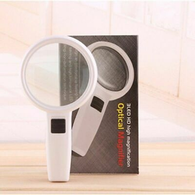 10X With 3 LED Light Handheld Magnifier Reading Magnifying Glass Jewelry Loupe