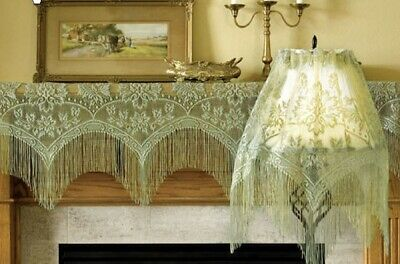 Window Lace Valance Sage 3 in 1 Mantel or Lamp Shade Cover Livingroom Mantel