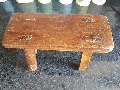 Small Antique Country Rustic Primitive Wooden Farmhouse Stool handmade