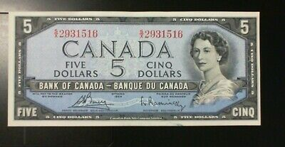1954 Bank Of Canada $5.00 Banknote Bouey  Rasminsky Modified Portrait