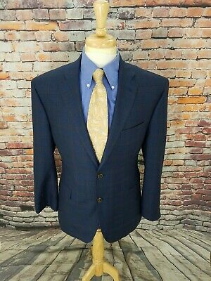 Jos A Bank Signature 41R Navy Plaid 2 Button WOOL SILK Sport Coat Jacket Blazer