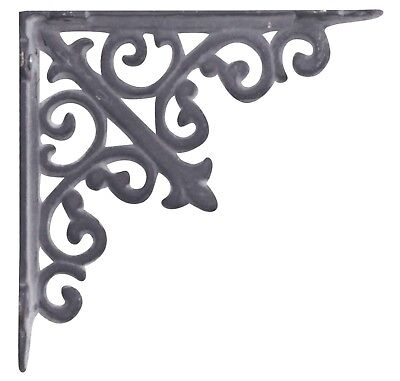 Pair of Antique Styled Cast Iron Shelf Wall Brackets Ornate Antique Gray