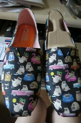 New, Bobs From Skechers Kitty Shoes, Blk Wt Grumpy Kitty All Over, S 8 1/2 Boxed