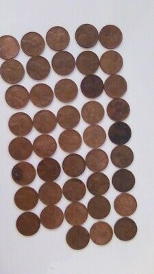 1944 Lincoln Wheat Penny - Us Cent Copper Penny - Lot Of 43 - Varied Collectible