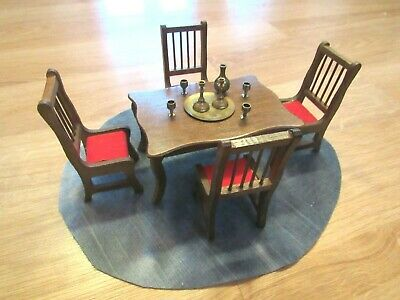 Vintage Dollhouse Dining Room Wood Set-Table-4 Chairs-Brass Accessories-TinieToy