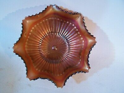 Antique NORTHWOOD Carnival Glass Amethyst Ruffled Bowl Dish STIPPLED RAYS 8 3/4""