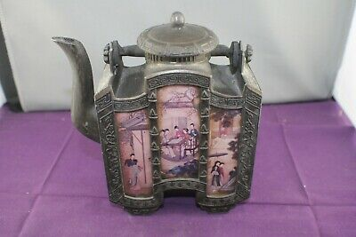 Antique Chinese Shantou Pewter 6 Glass Panel Tea Pot Asian Family Pictured