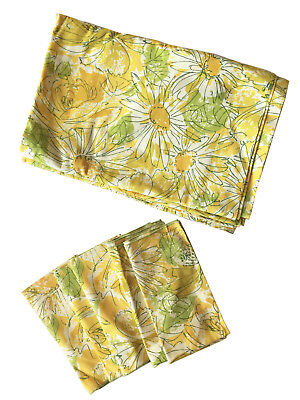 VERA NEUMANN VTG '60's Cotton Tablecloth Set w/ 5 Napkins Yellow Floral Print