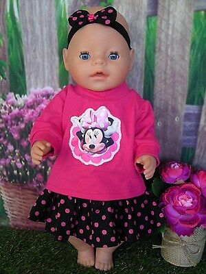 """Dolls clothes for 17"""" Baby Born doll~ MINNIE MOUSE PINK TOP~SPOTTY SKIRT~HAIRBOW"""