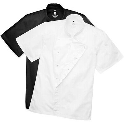 Chef Coat Jacket Chefworks Cannes Press Stud Short Sleeve White OR Black XS-XL