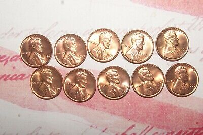 1959 P mint BU uncirculated (10) coin lot 'first year' Lincoln memorial cents #2