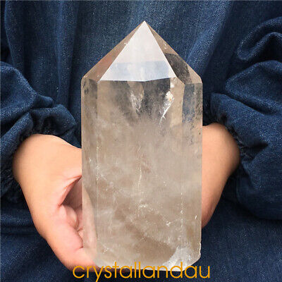 2.55LB Natural smokey citrine Quartz Obelisk Crystal Wand Point Healing GTA1111