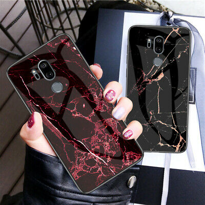 For LG G7 ThinQ Luxury Thin Marble Tempered Glass Hybrid Shockproof Case Cover