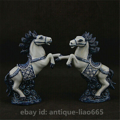 Chinese Jingdezhen Blue White Porcelain 12 Zodiac Animal Horse Statue Pair 马到成功