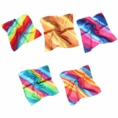 60cm Gradient Rainbow Striped Print Satin Square Scarf Women Imitation Silk Neck