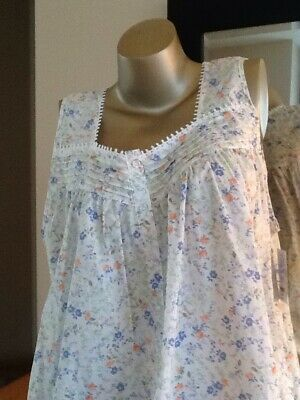 192444e04a Adonna 100% Cotton Sleeveless Square Neck Printed Long Nightgown Extra  Large NWT