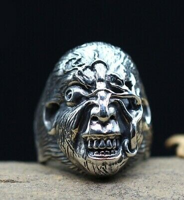 925 STERLING SILVER Men's Thai evil punk biker retro RING jewelry S3379