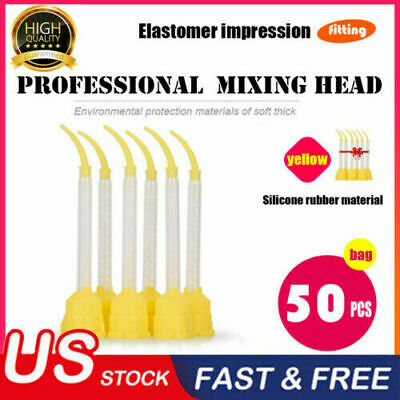 50 Pcs Dental Silicone Impression Material Mixing Tips Tube Rubber Disposable us