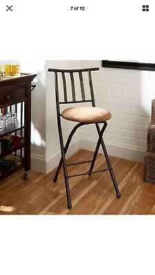 Fabulous Folding Bar Stools Set Of 2 X Back 30 Bronze Brown Evergreenethics Interior Chair Design Evergreenethicsorg