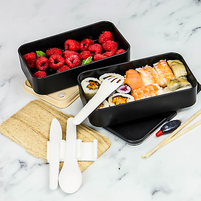 2 Tier Bento Lunch Box | Airtight Lunch Box | Reusable Cutlery Included |  M&W