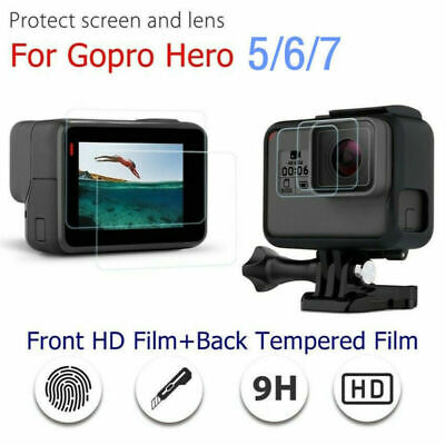 Tempered Glass Lens & Screen Protector Films Set HD For Gopro Hero 7 6 5 Camera