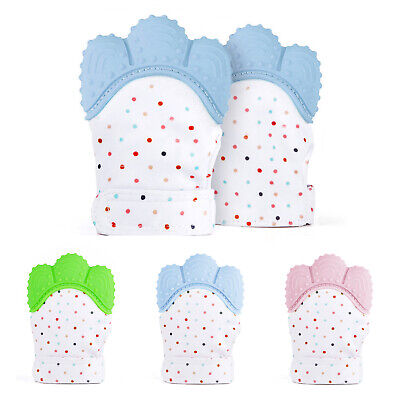 Silicone Baby Teething Teether Mitten Glove Safe Candy Chew Dummy Toy