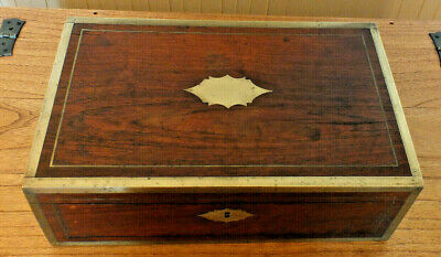 Antique Victorian Writing Slope/ Box With Secret Drawers brass trim Rosewood