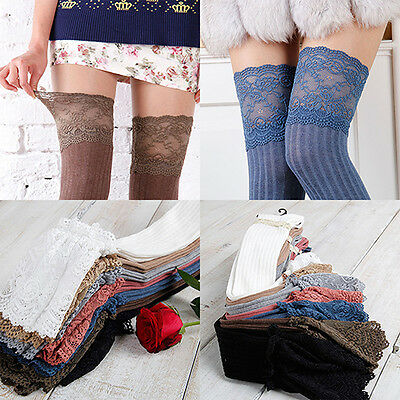 BU_ EP_ Women Lace Cotton Over Knee Thigh Stockings High Socks Pantyhose Tights