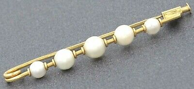 VINTAGE HANDMADE 18ct Yellow Gold Pearl Bar Brooch with Trombone Clip- Val =$850