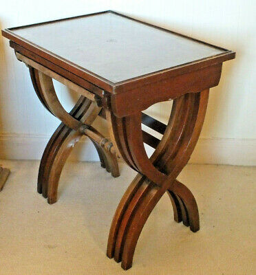 Vintage Reprodux Mahogany Nest of three Tables With Leather Tops  X legs. side