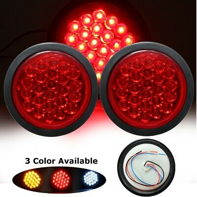 2x24LED Red Round Reflector Stop Brake Turn Signal Rear Tail Light Truck Trailer