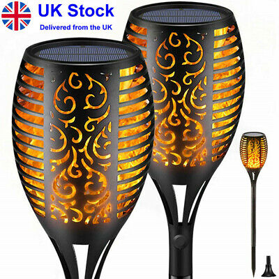 Outdoor Solar Powered Garden Stake Lights Flame Effect Ornament Warm White Light