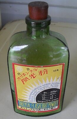 Vintage Oriental Flashlight Powder / Photography Original Paper  Label Bottle.