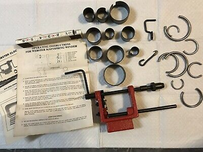 Webster Mainspring Clock Winder 21 Pc w Instructions USA Made