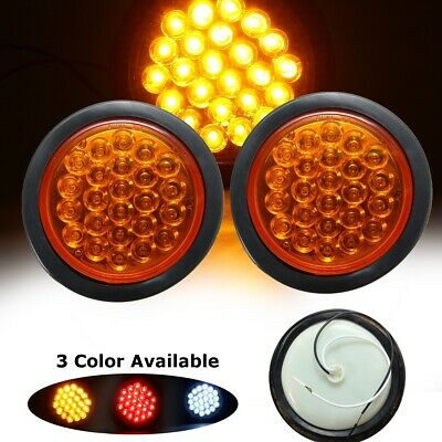 2x 24 LED Amber Round Reflector Stop Brake Turn Signal Tail Light Truck Trailer