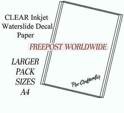 INKJET WATERSLIDE DECAL PAPER clear  A4  ( LARGE PACK SIZE )