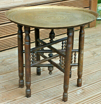 Antique Vintage Indian Folding Brass Top Table 1920s Campaign Asian Arabic