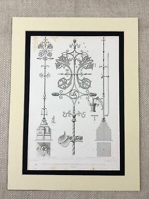 1857 Antique Print Gothic Architecture St Colombe Church Cologne Ornamental Iron