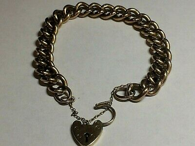 9.Ct Rose Gold Antique Ladies Bracelet & Heart Padlock Fastener, 17.41,Grams