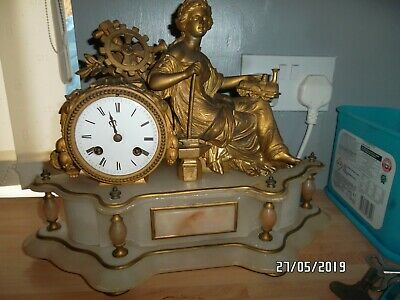 VINTAGE FRENCH BELL CHIME  MANTEL CLOCK  marble and spelter