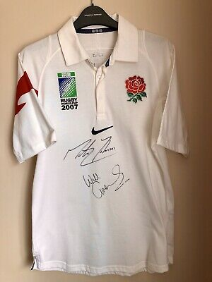 England Rugby Shirt Signed Martin Johnson Will Greenwood World Cup 2007