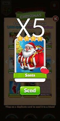 5 Santa coin master cards *Fast Delivery*