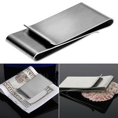 BU_ AU_ Stainless Steel Silver Color Slim Money Clip Purse Wallet Credit Card Ho